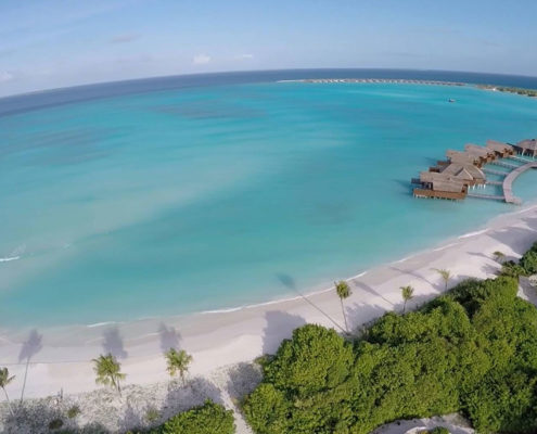 Maldives Resorts - Aerial View - Villas - Deluxe Water Villas with Pool - Hideaway Luxury Maldives Beach & Spa