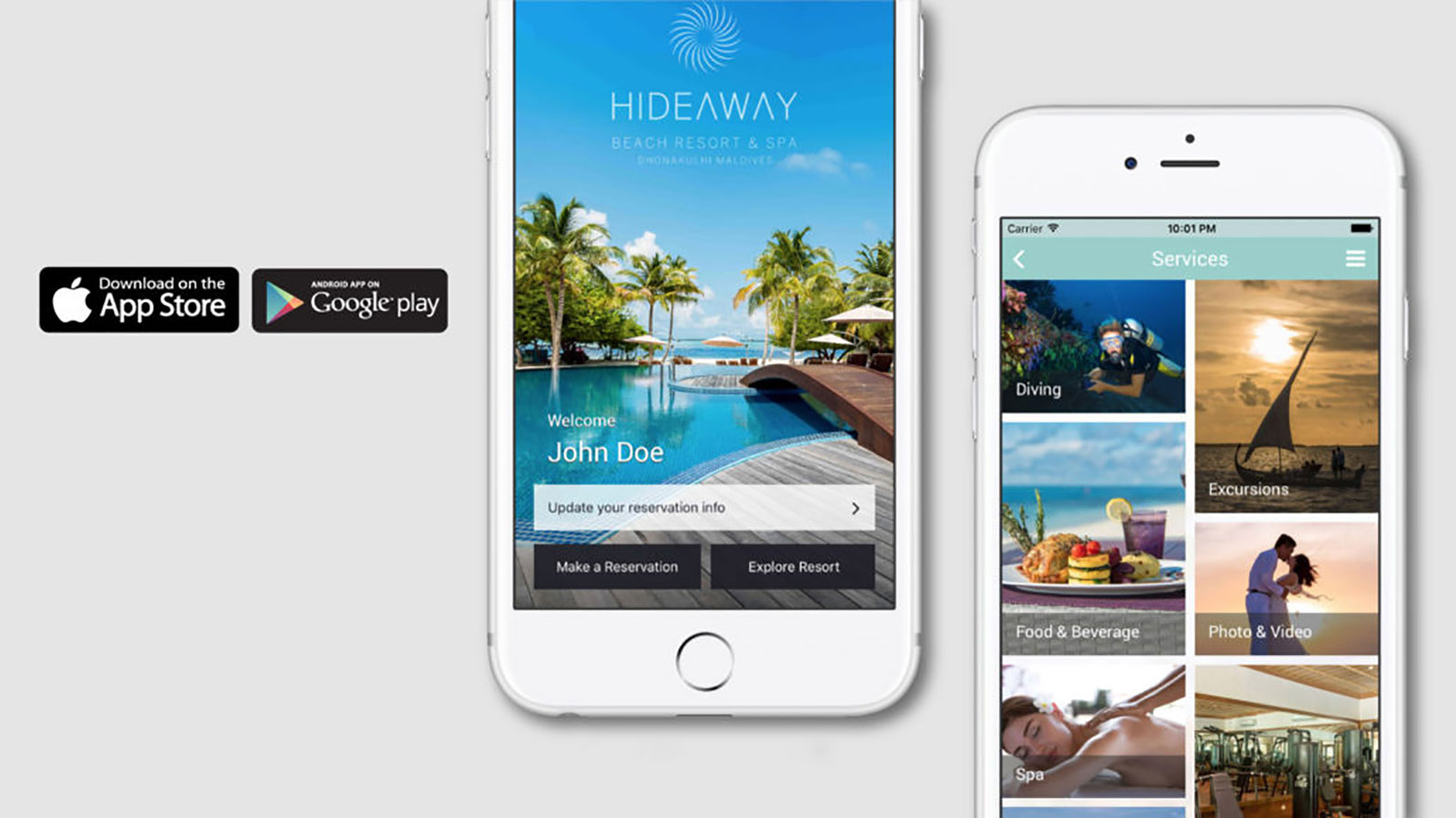 Maldives Resorts - Maldives Luxury Resort - Mobile App iOS Android - Hideaway Maldives Beach Resort & Spa